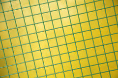 Green Protective metallic grid on yellow background Stock Images