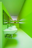 Green public bathroom Royalty Free Stock Image