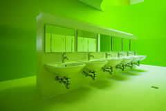 Green public bathroom Royalty Free Stock Photography
