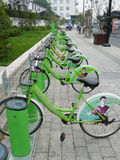 Green Public bicycles in Suzhou Stock Photo