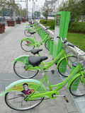 Green Public bicycles in Suzhou Stock Image