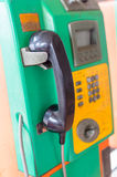 Green public telephone Stock Photos