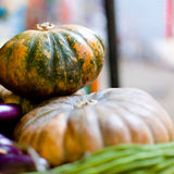 Green pumpkins on market Royalty Free Stock Images