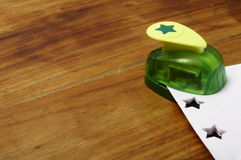 Green punching machine for paper scrapbooking Stock Photo