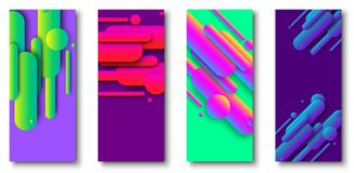 Green and purple cards with abstract colorful pattern. royalty free illustration