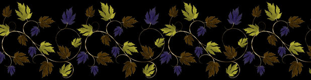 Green,Purple,Copper and Gold Leaves and Vine Border Stock Images
