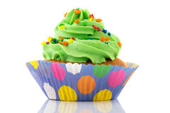 Green and purple cupcake Stock Image