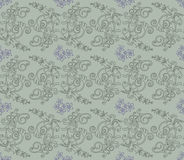 Green and purple floral wallpaper Stock Image