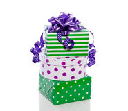 Green and purple gifts Stock Photography
