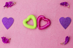Green and purple hearts Royalty Free Stock Photos