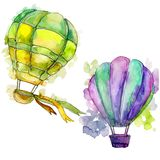 Green and purple hot air balloons background fly air transport illustration. Green and purple hot air balloon background fly air transport illustration Royalty Free Stock Image