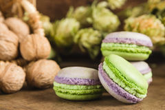 Green and purple macaroons. Rustic scene. Green and purple macaroons with walnuts on wooden background. Rustic scene. Shallow focus royalty free stock photo