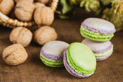 Green and purple macaroons. Rustic scene. Green and purple macaroons with walnuts on wooden background. Rustic scene. Shallow focus royalty free stock photography
