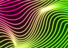 Green purple neon curved wavy lines abstract background. Glowing vector design stock illustration