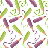Green and purple pens Royalty Free Stock Photography