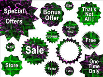 Green and Purple Special Offer Sale Stickers royalty free illustration