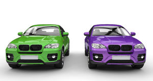 Green And Purple Suv Royalty Free Stock Photography