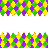 Green, purple, yellow grid Mardi gras frame. Green, purple, yellow grid Mardi gras vector frame Royalty Free Stock Photography