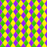 Green, purple, yellow grid Mardi gras seamless. Vector pattern Royalty Free Illustration