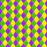 Green, purple, yellow grid Mardi gras seamless. Vector pattern royalty free illustration