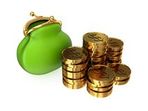 Green purse and golden coins. Royalty Free Stock Image