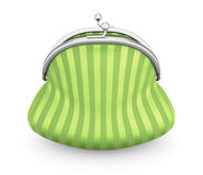 Green purse on a white. 3d. Stock Images