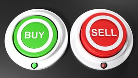 Pushbuttons to buy and sel; buy is selected - 3D rendering. A green pushbutton for buying and a red one for selling. The green button for buying is pressed down Royalty Free Stock Photo