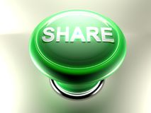 SHARE green pushbutton - 3D rendering Royalty Free Stock Photography