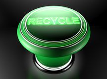 Green pushbutton for recycling - 3D rendering Stock Photography