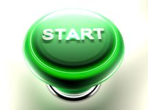 Green pushbutton to START - 3D rendering. A green pushbutton has a metallic write `START` on its top. On the perimeter of the button itself, a circular green Stock Image