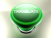 Green pushbutton to TRANSLATE - 3D rendering Stock Image