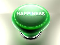 Green pushbutton with the write HAPPINESS. A green pushbutton with the write `HAPPINESS` has also a green circle light around its top that is lit up. Button is Stock Photo
