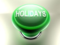 Green pushbutton with write HOLIDAYS Royalty Free Stock Photo