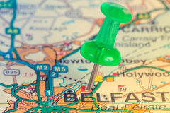 Green pushpin showing Belfast location Royalty Free Stock Photo