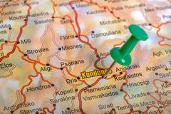 Green pushpin on a touristic map Stock Photography
