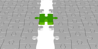 Green puzzle connection. Two puzzle parts connected with green jigsaw piece, concept particular person Stock Images