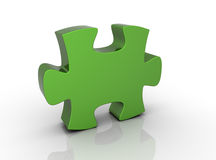 Green puzzle isolated 3d illustration Royalty Free Stock Photography
