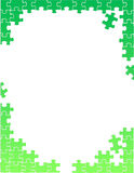 Green puzzle pieces border template illustration Royalty Free Stock Photography