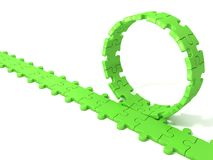 Green puzzle ring rotating over puzzle chain Stock Image