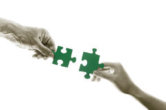 Green puzzles connection Stock Photography