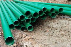 Green pvc pipes Stock Image