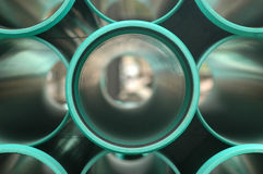 Green PVC Pipes - Front View. Large Green Pipe - Front View stock photo