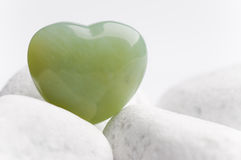 Green quartz heart Stock Photos