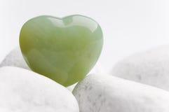 Green quartz heart Stock Photos
