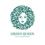 Green Queen Logo. Logo for cosmetic, beauty, Spa Royalty Free Stock Image