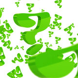 Green question marks over white background Stock Images