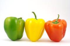 green röd yellow för papricaen Arkivfoton