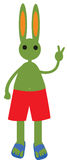 Green rabbit in red shorts Royalty Free Stock Photos