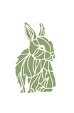 Green rabbit silhouette. Green hand drawn hare silhouette on a white background, available in  format Royalty Free Stock Photography