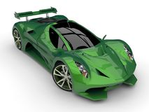 Green racing concept car. Image of a car on a white background. 3d rendering. Green racing concept car. Image of a car on a white background. 3d rendering stock illustration